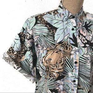 Incredible vintage tropical crop top blouse